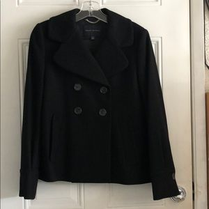 Women's S/petite double breasted black pea coat